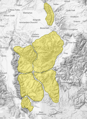 This map shows relative avalanche danger for Madison and Gallatin counties. With extreme terrain, shifting winds and adventurous winter recreationists, southwest Montana is a hotbed of human-triggered avalanches. (avalanche.org)