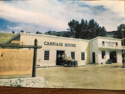 The old Virginia City carriage house in the 1950s. The new information center, where Virginia City's new gas station will be installed this fall, will be an exact replica of the 20th-century building. (Image courtesy of Elijah Allen)