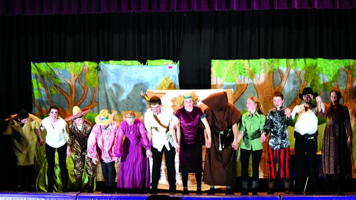 "ABOVE – Harrison students performed ""The Adventures of Robin Hood"" on March 28, after working every day after school for more than a month to prepare the production. The play was a huge success, staff told the Harrison school board at their April 8 meeting. (A. Christensen)"