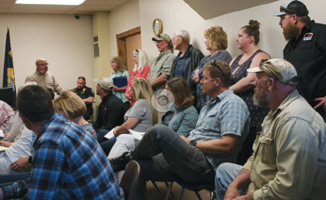 Ennis Zoning Director, Art Behar, explains the zoning issues of a small corner lot during the Town Council meeting June13. HANNAH KEARSE/THE MADISONIAN