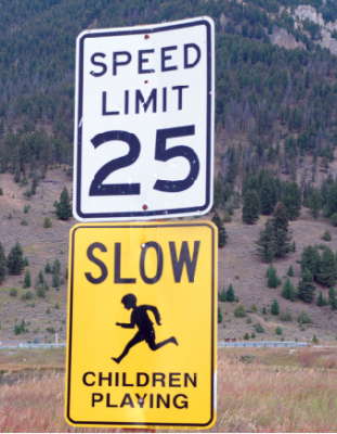 Heed the school zone speed limit signs. PHOTO BY KEELY LARSON