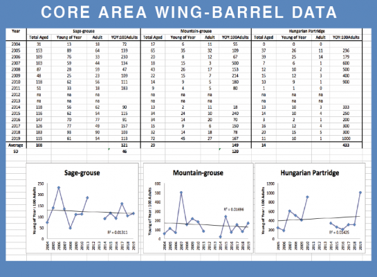 Southwest Montana Core Area Wing- barrel monitoring of sage-grouse and mountain-grouse from 2004 - 2019, and Hungarian Partridge from 2005 - 2019. Provided by Montana Fish, Wildlife and Parks wildlife biologist Dean Waltee