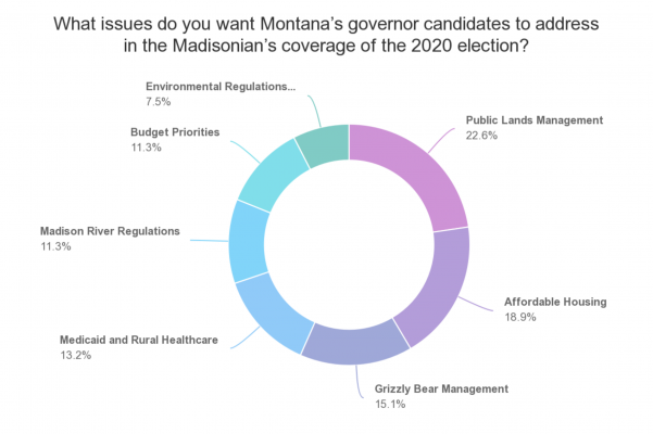 Madison County Facebook users voted on a poll asking what issues they wanted candidates to address. Results from the poll are shown in this pie chart.