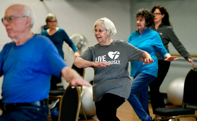 Seniors take part in an exercise class at the Missoula Family YMCA in this file photo from 2019. According to a Montana Free Press analysis of median age statistics from the U.S. Census Bureau, Montana is the oldest state in the western United States. Credit: TOM BAUER/ MISSOULIAN FILE PHOTO.