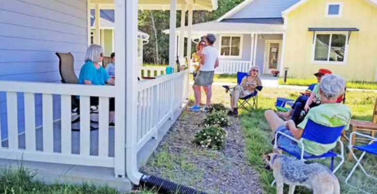 The newly built Village Hearth Cohousing community in Durham, North Carolina. The 28-house community is for people age 55 and over and welcomes LGBT residents as well as allies. Credit: Margaret Roesch/Village He
