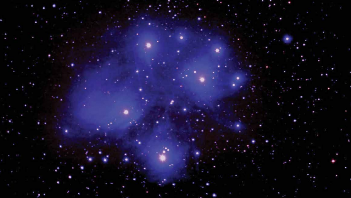 """Joe took this picture of the Seven Sisters on Jan. 5, 2019. The blue color comes from the nebulosity, or the haze around the stars. """"There's so much color in the sky but you don't see it with your naked eye,"""" Gwen said. PHOTO BY JOE WITHERSPOON"""