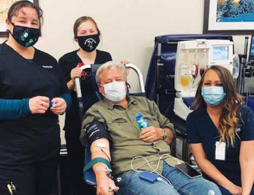 Roger Rosenberger donates convalescent plasma at the Madison Valley Medical Center Sept. 12. PHOTO COURTESY MVMC