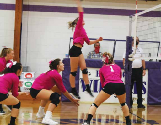 Both the Wildcats and the Mustangs don pink in support of Breast Cancer Awareness during their match up earlier this week. PHOTO COURTESY KELLEY KNACK
