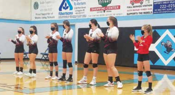 The Lady Falcons get fired up to play the Shields Valley Rebels on Oct. 9. PHOTO COURTESY GAIL BANKS