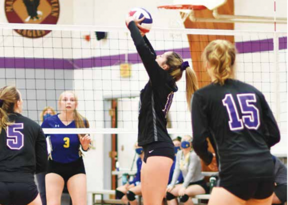 Wildcat senior, Aleen Bacon, slams the ball in one of her many kills during the game against the Gardiner Bruins. PHOTO COURTESY ANDREA CHRISTENSEN
