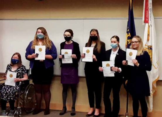 Six competitors in the Montana Department American Legion State level High School Constitutional Oratory contest competed on March 6. Trista Redfield (second from right) from Twin Bridges represented District 6 at the competition. PHOTO COURTESY DOUG MARTIN