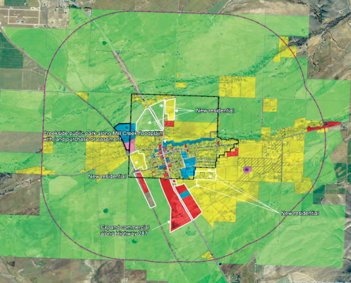 An example of how future land use could be designated in Sheridan. MAP CREATED BY NORTHERN ROCKIES ENGINEERING. INC.
