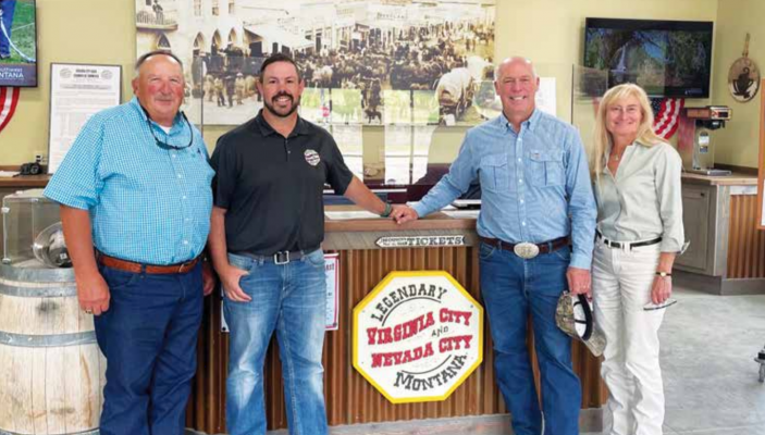 Left to right: Representative Ken Walsh District 71, Elijah Allen, Executive Director, Montana Heritage Commission, Governor Greg Gianforte and First Lady Susan Gianforte. PHOTO COURTESY MONTANA HERITAGE COMMISSION