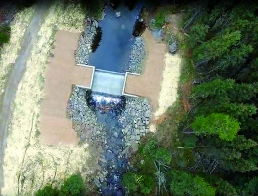 The construction of a trout barrier in the North Fork of Spanish Creek wrapped up in late October. Bairco Construction Company posted a time lapse video of the project online, including this overhead image of the finished project. (Bairco image)