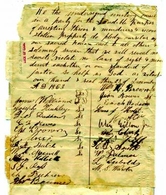Original copy of the vigilante oath, written by John Lott and signed in Virgina City in December of 1863. (Montana Memory Project image)