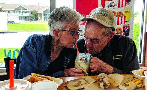 """Ann and Nick Novich: Sheridan's Home Park Assisted Living provided us with photos of Ann and Nick Novich. """"I had the great pleasure of taking Ann and Nick Novich out to lunch and snapped this awesome picture,"""" says Megan Ellis of Home Park. """"They were married October 1951, have been married 67 years."""" (Submitted)"""