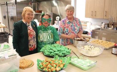 Helen Morris, Janie McMillin-Wasmann, and Carol Wilcox show off some of the delicacies served during the Spring Bazaar at the Twin Bridges Senior Center on Saturday. McMillin-Wasmann developed the idea for the event to raise funds for the center. Wilcox is the cook at the senior center and Morris is a board member.  (G. Hamill photo)