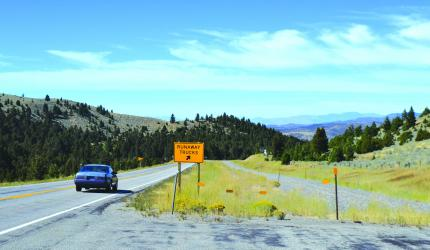 The hill going down into Virginia City is a safety concern following the crash of a run-away dump truck recently. No one was injured in the crash, but it brought the issue of speed on this hill to the forefront. (R. Colyer)