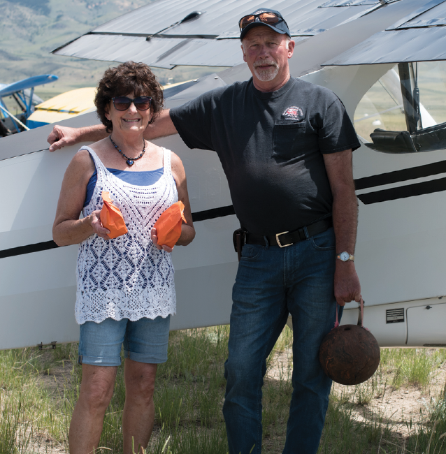 Evert and Jamie Weird from Bozeman are ready for the pilot games at Twin Bridges Fly-In Car Show June 15.