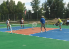 Local residents put newly transformed pickleball court to use. The Park District Board approved the conversion and repair of a second court with assistance from the Pickleball Club.   PHOTO COURTESY GAYLE WALTER