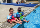 Sheridan locals, Braeden and Mallory Gilman, hang out poolside at the Sheridan public pool Aug. 14. Photo by Susanne Hill
