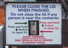 The control panels for the mechanical lids at the Nevada City dumpsite Oct. 2. Fury Metalworks in Ennis made the signs. PHOTO BY HANNAH KEARSE