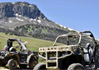 A military-grade utility terrain vehicle and a person ATV wait to begin the Search and Rescue training mission below Black Butte in the Gravelly Mountains. PHOTO BY HANNAH KEARSE