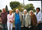 Kelly Elser, Mickie Benedict, Dr. Waren Swager, Carol Lee Swager, Eileen Pearce and Mary Pat Graham stand outside the Sheridan Senior Center. PHOTO BY KEELY LARSON