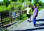 Mark Savinski and Howard Chrest explain how the Seyler Bridge access site came to be. Following a protracted court battle, Montana Fish Wildife and Parks installed a permanent access to this location and another recently, with a third on the way, upping permanent Ruby River access for those who seek to enjoy the waters. (J. Taylor photo)
