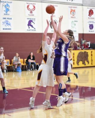 Alexys Bacon pushes through a Lima defender for the basket. (Photo courtesy Andi Christensen)