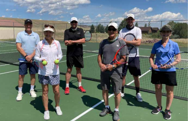 Tennis instructors (L to R)back row: Richey Rehberg, John Fielding, Keven Lynch. Front row: Debbie Click, Perry Quirk, Gloria Montgomery. PHOTO BY DEBBIE CLICK