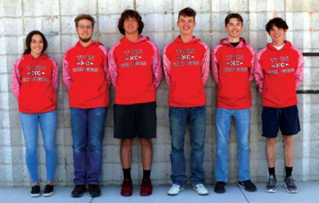 The Twin Bridges Cross Country Team. L to R: Allie Dale, Kyie Salerno, Pablo Babcock, Zane Carter, Will Morris (captian) and Morgan Hendrickson. PHOTO COURTESY OF JODY SANDRU