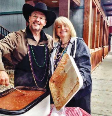 Kajun Kenny and Vicki Amussen on Ennis Main Street for the Hunter's Feed. PHOTO COURTESY VICKI AMUSSEN