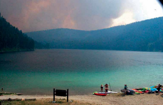 A look at the Goose Fire on July 11 as it closed in on Cliff Lake's southern edge. PHOTO BY DAVID SCHMIDT
