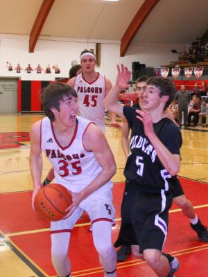 Harrison Wildcat Vern Homner (5) guards Twin Bridges Falcon Clay Wolfe (35) during a game in Twin Bridges on Feb. 9. The Falcons rolled to a 70-45 victory. (G. Hamill photos)