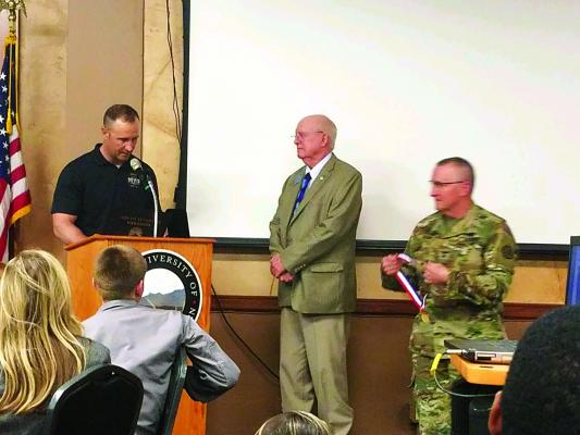 Above – State Representative Raw Shaw (R-71) receives the Patriot Award from Major General Matt Quinn at the Montana Youth Academy Challenge in Dillon.