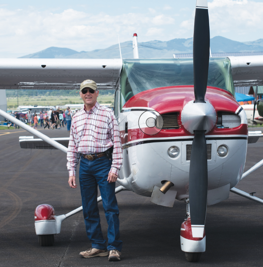 Rob McDowell flies Young Eagles as an Experimental Aircraft Association volunteer in his Cessna 182 Skyline airplane at the Twin Bridges Fly-In Car Show June 15.