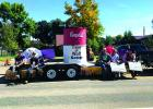 """Harrison High School students spent weeks crafting their homecoming float before their game against the Three Forks wolves, featuring a Campbell's soup can labelled """"cream of wolf soup."""" They did something right; the panthers came out on top in the homecoming game, winning 34-28. Whitehall's homecoming float, a riff on the famous """"Mystery Machine"""" from Scooby-Doo, was a crowd favorite at the Whitehall homecoming parade on September 21. Whitehall and Harrison participated in the parade together. (H. Nieskens"""