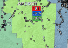 This map shows the locations of fatality and serious injury crashes in Madison County between 2007 and 2016. Madison County saw 181 of those crashes over that decade, with 36 percent of them involving an impaired driver and 48 percent involving a passenger not wearing a seatbelt. The line of stars in the northeast corner of the county shows the concentration of crashes along the roads between McAllister and Norris on Highway 287 and along Highway 84 from Norris to Bozeman. (Map courtesy of Montana Departmen