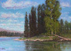 McClellan's original oil painting depicts cottonwood trees along the Jefferson River. She used a picture she had taken while floating the Jefferson to recreate the painting. PHOTO COURTESY OF ELIZABETH MCCAMBRIDGE