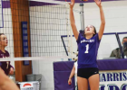 Harrison junior, Jaclyn Hartman, sets it up in District volleyball play. PHOTO COURTESY ANDREW BACON